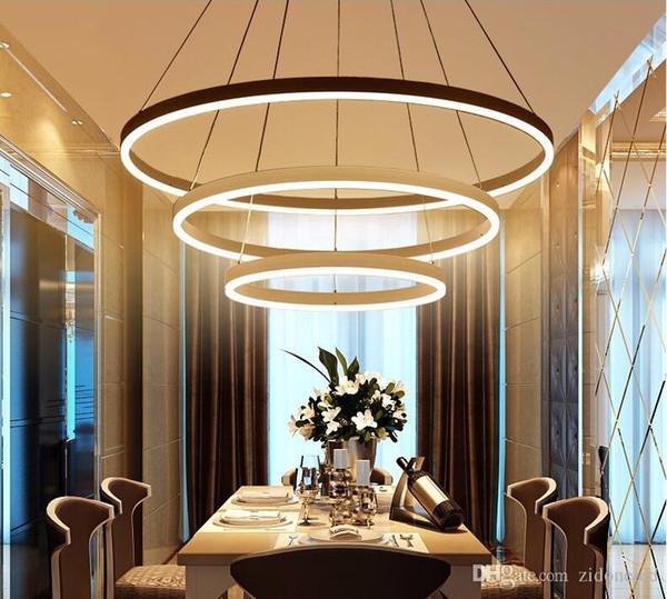 Grosshandel Circel Ringe Moderne Led Pendelleuchten Acryl Kronleuchter Beleuchtung Designer Pendelleuchten Wohnzimmer Esszimmer Leuchten Von