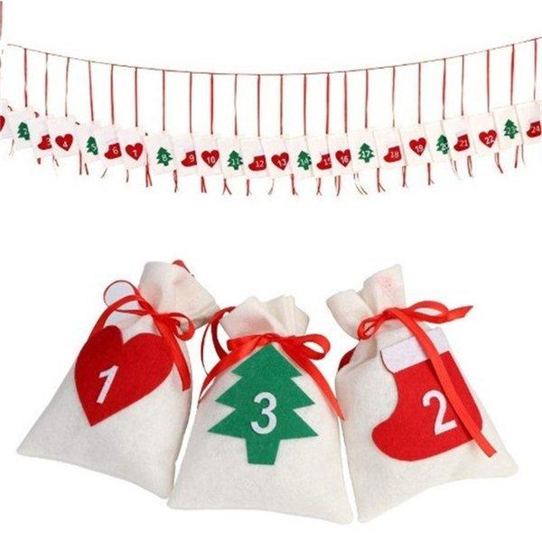 DIY мини ткань мешок Xmas дерево украшения открытый висит чулки комплект карманные рождественские украшения семейный календарь подарки 1 9cj hh