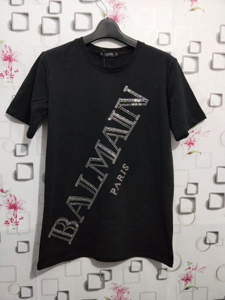 2018 popular style hot drill letter printing short sleeves blouse men and women with the same T-shirt fabric soft