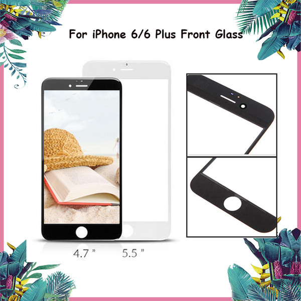 White&Black Front Glass Panel For iphone 6&6 Plus Touch Screen Glass Lens Replacement Cold Press Middle Frame Bezel Screen For iphone Glass