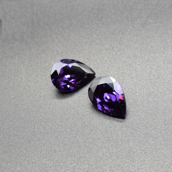 10x12mm-13x18mm 4 Sizes High Quality 3A Cubic Zirconia Amethyst Purple CZ Pear Cut Loose Gemstone Wholesale For Jewelry Making 100pcs/lot