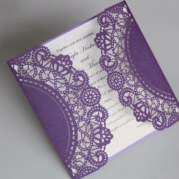 Purple Laser Cut Wedding Invitation Elegant Invitation Cards Shiny Wedding Invite With Envelopes - Set of 50