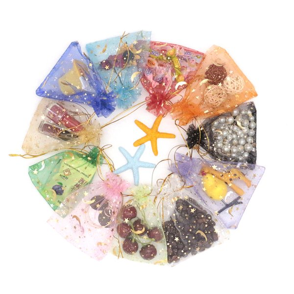 500pcs/lot Mixed colors Jewelry Packaging Drawable Organza Bags 9x12cm Moon Star Small Jewelry Bags & Pouches