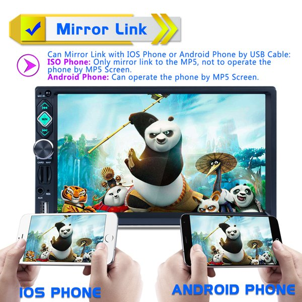 7 Inch 2 DIN Bluetooth Auto Multimedia Stereo Car DVD MP5 Player AM / FM / RDS Radio Support Mirror Link Rear View Cam CMO_22S