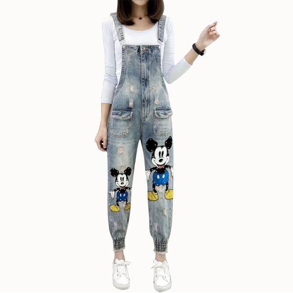 Casual Overalls Jeans For Women Denim Jumpsuit Overalls Trousers Loose Jumpsuit Pocket Spring Pencil Pants Femme
