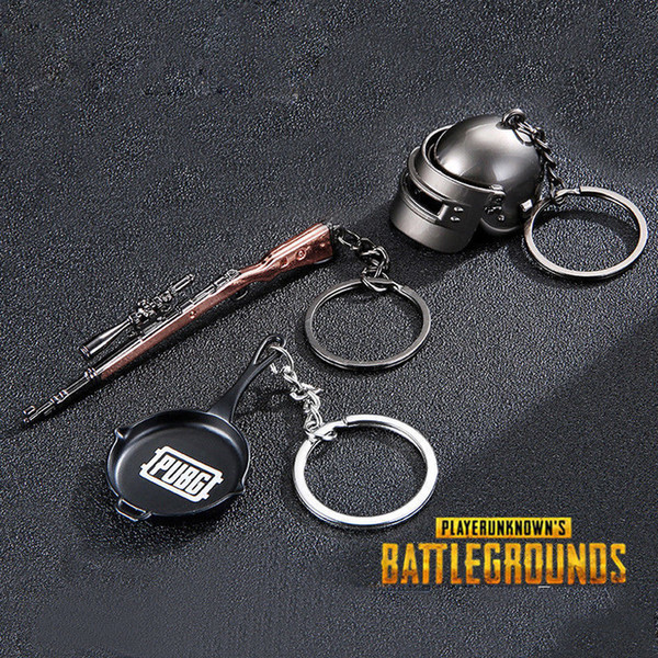 3pcs/lot STG Game Playerunknowns Battlegrounds PUBG Keychain 3D Weapon Model Pendant Keyring 3 Designs Kids Toys AAA953