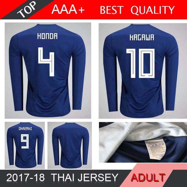 HONDA KAGAWA OKAZAKI HASEBE NAGATOMO 2018 Japon Coupe du Monde Manches Longues Domicile Bleu Maillots 2018 2019 Japon Maillots de foot