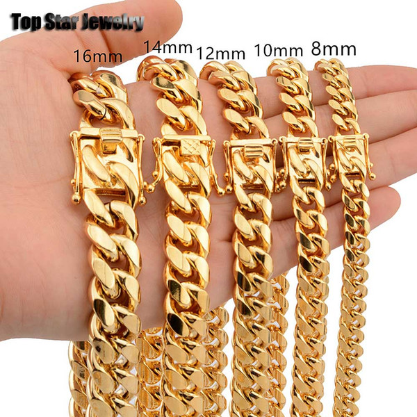 best selling 8mm 10mm 12mm 14mm 16mm Stainless Steel Jewelry 18K Gold Plated High Polished Miami Cuban Link Necklace Men Punk Curb Chain Butterfly Clasp