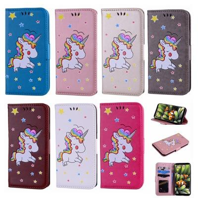 New Arrival Flash Powder Unicorn Rainbow Horse Magnetic Wallet Case Flip Leather Cover For iPhone X 8 7Plus Samsung S8 Plus S7 S6 Edge