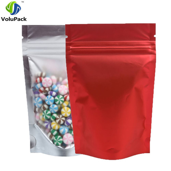 8.5x13cm (3.25x5in) 100pcs/lot Matte Translucent Mylar Foil Heat Seal Red pouch zip lock Storage packaging bag
