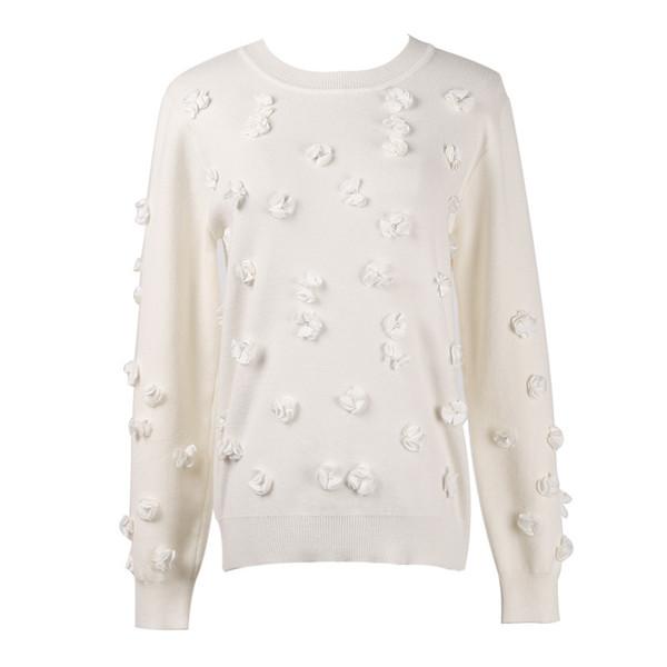 2018 nero / bianco Semplice girocollo in tinta unita fiori di perline a maniche lunghe casual maglia pullover maglione donna 69