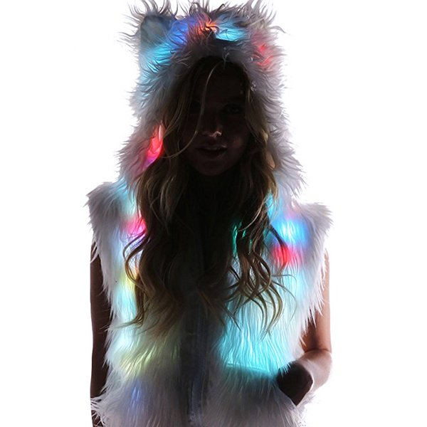 2018 LED Faux Fur Hat Vest Light Up Hood Animal Hat Wolf Plush Warm Animal Cap Christmas Halloween Costume for Women Children