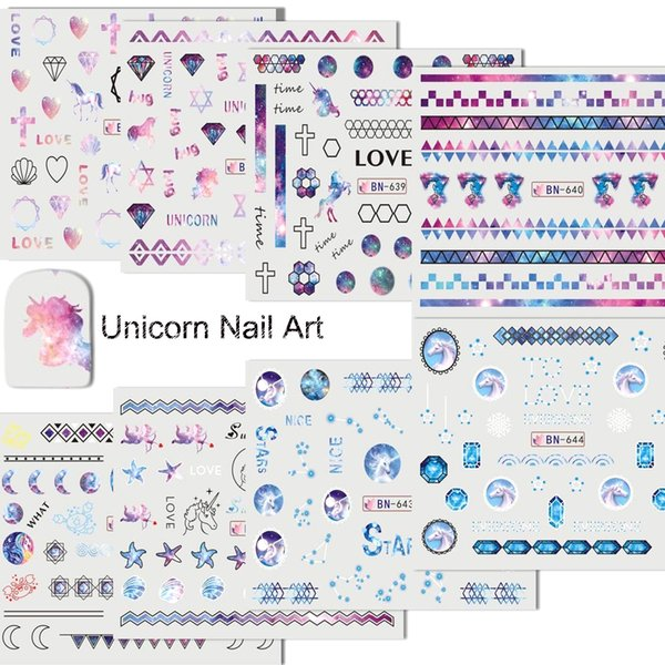 12 pcs/Set Cute Unicorn Nail Art Water Stickers Decals Nail Decorations Beauty Pigment Manicure Water Slide Tattoo TRBN637-648