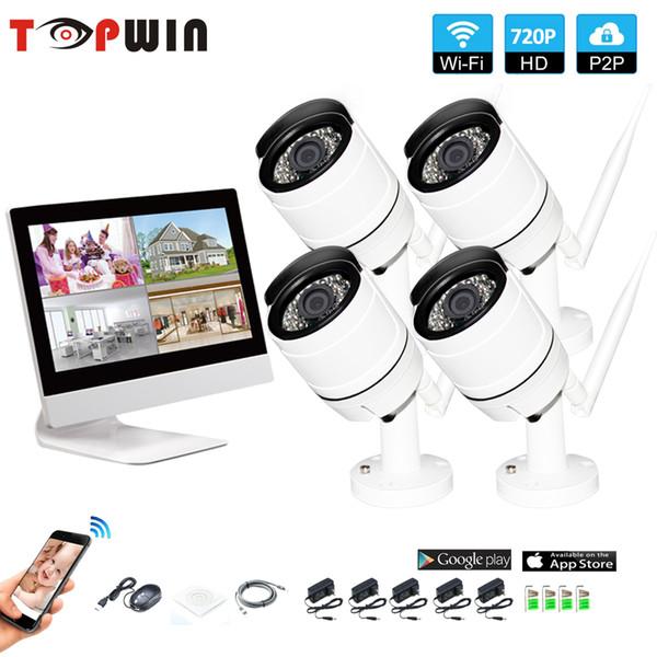 Rede de Sistema de Vigilância sem fio de 10.1 Polegada Monitor LCD Gravador NVR Wifi Kit 4CH 720 P HD Entradas de Vídeo Câmera de Segurança