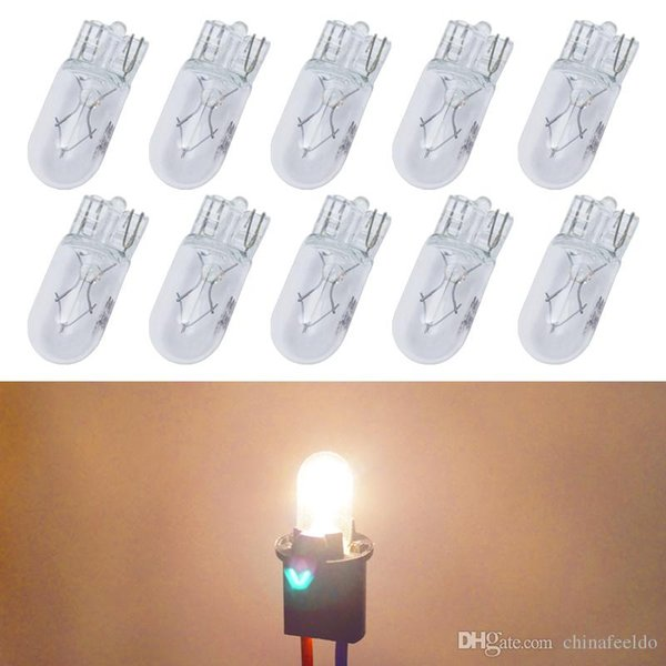 10pcs/box Warm White Car T10 168 192 Wedge 12V 5W Halogen Bulb External Halogen Lamp Replacement Dashboard Bulb Light #2109