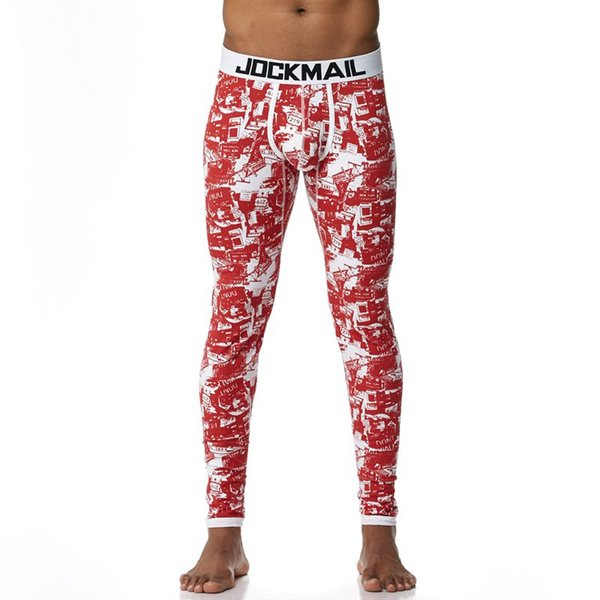 JOCKMAIL Brand Men Long Johns Cotton Printed Thermal Underwear pouch Mens Leggings Sexy Warm Underpants Gay thermal underwear