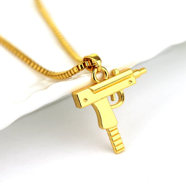 Hip Hop Jóias Colares Homens Mulheres Gravado Gun Uzi Pingente de Colar de Ouro Pingente de Moda Popular Mens Jóias de Ouro Colar de Corrente