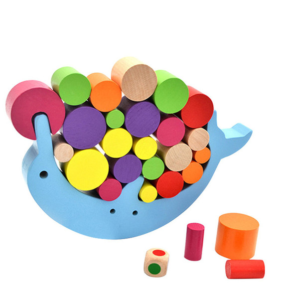 Wooden Stacking Blocks Toys Dolphin Balance Desk Games Building Blocks Children Baby Early Learning Educational Interactive Toys