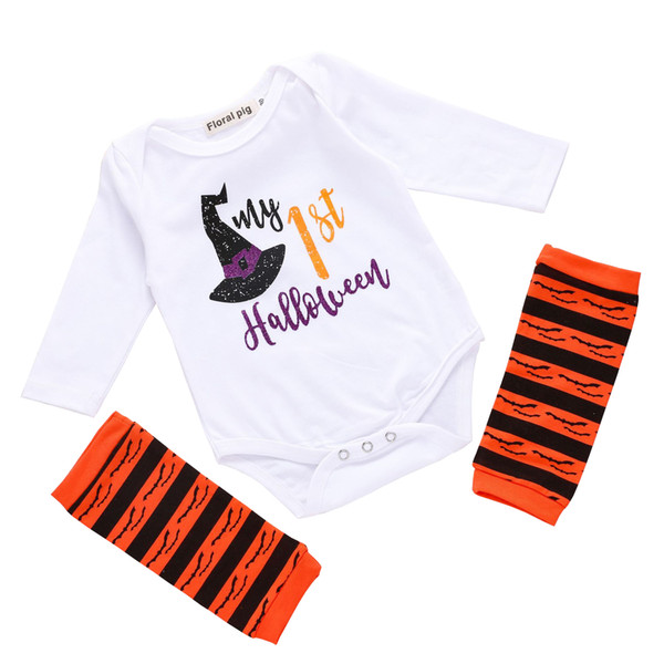 Floral Pig Baby Halloween Rompers Leggings Two-piece Clothing Sets My 1st Halloween Wizard Witch Hat Printed Onies Socks Newborn 3-24M