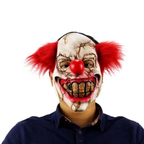 Halloween Mask Scary Clown Latex Full Face Mask Big Mouth Red Hair Nose Cosplay Horror Masquerade Ghost Party Mask