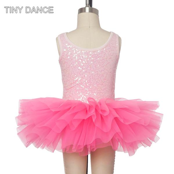 For Sale Child Ballet Dance Tutus Leotard Dress Pink Sequin Spandex Bodice with Hot Pink Tulle Tutu 17045