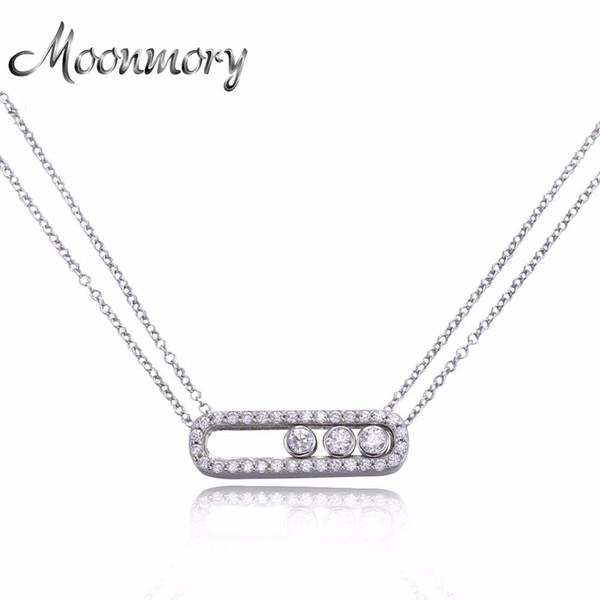 Moonmory Famosa Joyería 100% Real Puro 925 Plata Esterlina Mover Collar de Circón Para Las Mujeres Collar de Compromiso de Boda Joyería