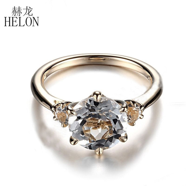 helon round solid 10k yellow gold prong setting 8mm & 3mm flawless white z ring wedding anniversary fine jewelry ring, Golden;silver