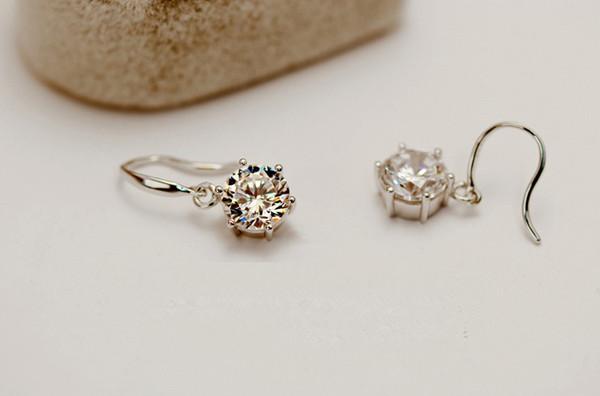 Pas Allergique 2CT / Piece Solitaire Boucles d'oreilles Dangle synthétique Goutte Boucles d'oreilles diamant rond pour les femmes de mariage Bijoux Sterling 925 avec la boîte