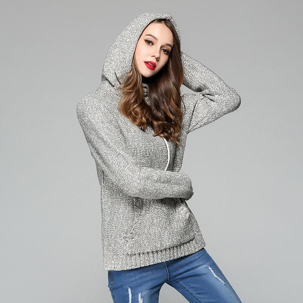 Women Fashion Pullovers Sweaters Jumper Hoodies Pocket Casual Thick Long Sleeve Winter Knitted Sweater Solid Gray Party Club Clothing