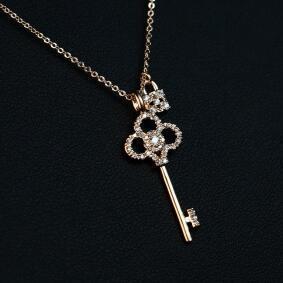Wholesale Women Choker Necklace Rose Gold Plated Chain Cubic Zirconia Clock & Key Pendant Necklace Fashion Collar Neckalce Jewelry
