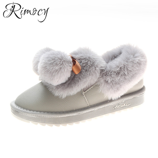 wholesale winter warm shoes woman fur ball lovely snow boots ladies PU waterproof botas mujer ankle boots for women flat heel shoes