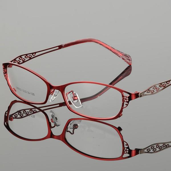 2018 Мода бизнес стиль металлические очки рамка женщины рецепт очки ретро  оптический ясно близорукость компьютер очки 7731e6e89ff3d