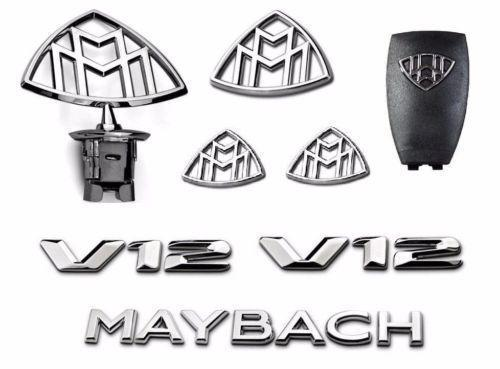 8pcs / Set Mercedes Emblem-Maybach S-Class Hood Standing Fender Traseras Insignias V12 W222 W221