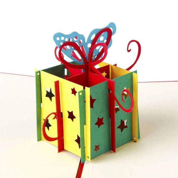 Großhandel-3D Pop Up Grußkarten Handmade Happy Birthday Geschenk Best Wish Weihnachten