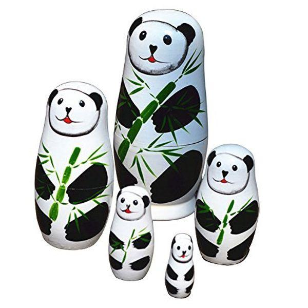 5pcs/set Cute Matryoshka Russian Doll Panda Dolls Hand Painted Wooden Toys Chinese Handmade Craft Gift