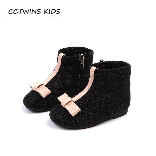 CCTWINS NIÑOS 2018 Otoño Bebé Niña Brillo Zapato Suave Niño Marca Mariposa Botines Botines Moda Negro Boot CF1505