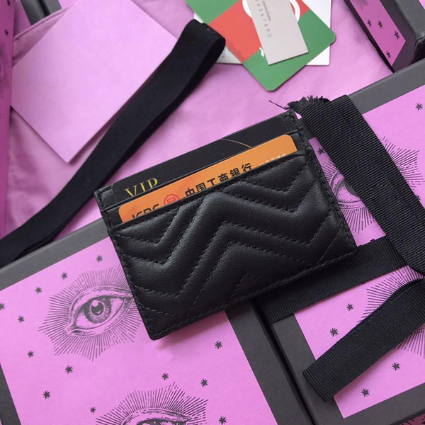 Uomini di alta qualità Classic Designer Casual porta carte di credito in vera pelle pacchetto portafoglio ultra sottile per donne Mans # 443127 w10 * h7