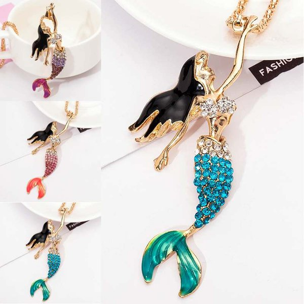 Oil Mermaid Necklace Sweater Chain Exquisite Flash Rhinestones Necklace Clothing Decor For Women New Fashion Free Shipping D776S