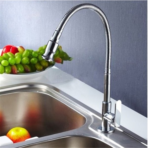 Xueqin Wholesale Single Hole Flexible Chrome Brass Pull Out Spring Kitchen Sink Single Lever Faucet Cold Tap