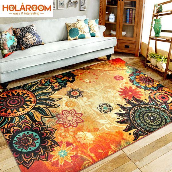 Bohemian Style Carpet Living Room Bedroom Rugs European Style Entry Mats  Rectangular Big Size Doormat SunFlower Kitchen Rugs Shaw Berber Carpet ...