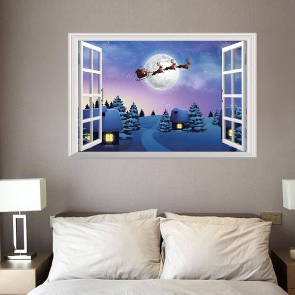 Creative Christmas Fake Window 3D Wall Sticker Holiday Elk Snowman Christmas Tree Living Room Home Decoration Santa Claus Vinyl Decals