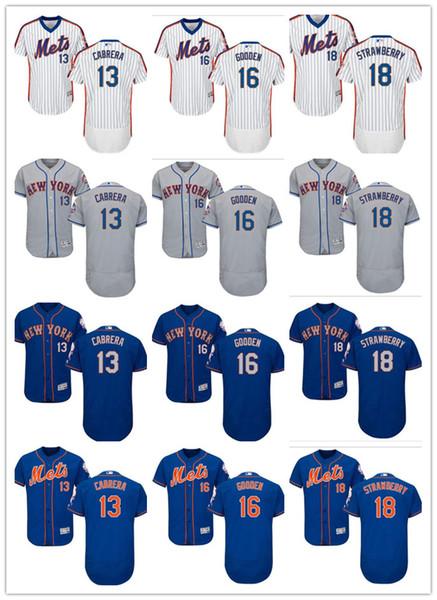 на заказ Мужчины Женщины Молодежь Маджестик Нью-Йорк Метс Джерси # 13 Asdrubal Cabrera 18 Darryl Strawberry 16 Дуайт Гуден Дом Blue Blue Трикотажные изделия бейсбола