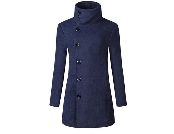 Männer Frühling Herbst langen Abschnitt Wollmantel Jacke Mode Europa Wind Revers Männer Einreiher Trenchcoat Jacke-1161