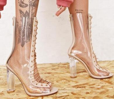 2018 women transparent heel Boots PVC ankle booties sexy point toe gladiator sandals lace up booties transparent boots