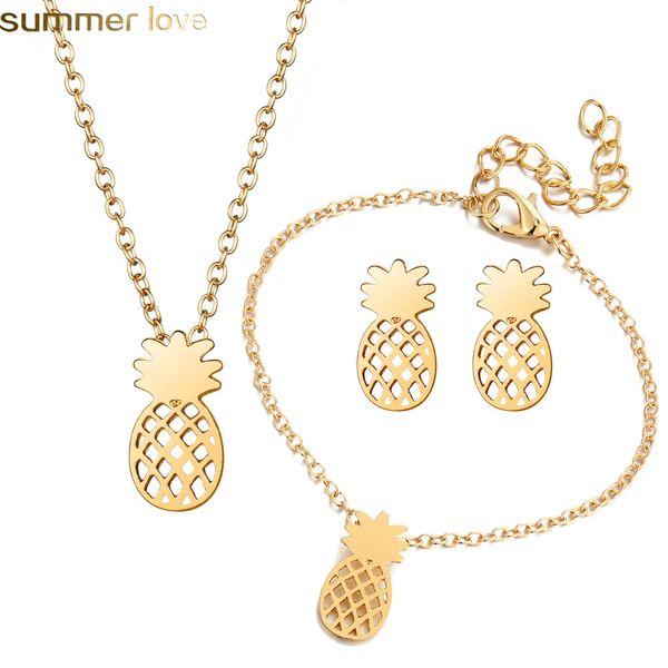 Neue Mode Niedlich Schmuck Set Aushöhlen Ananas Anhänger Halskette Armband Ohrringe Set Zubehör Einzigartige Geschenke Für Frauen Mädchen