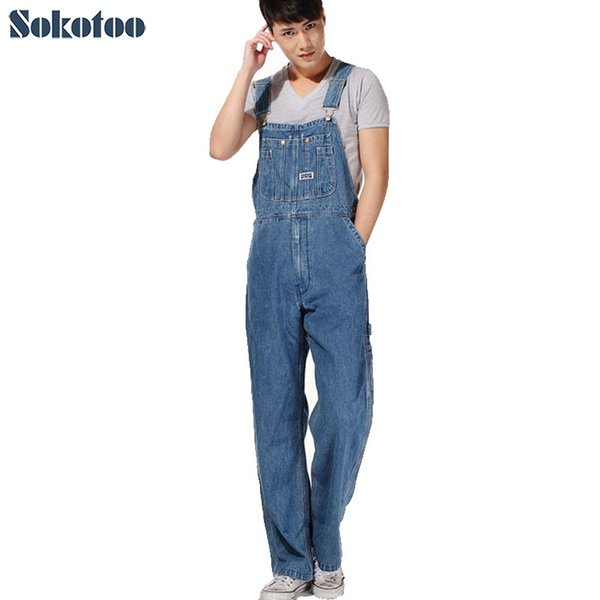 Sokotoo Men 'S Plus Size Overalls Large Size Huge Denim Bib Pants Fashion Pocket Jumpsuits Male Free Shipping