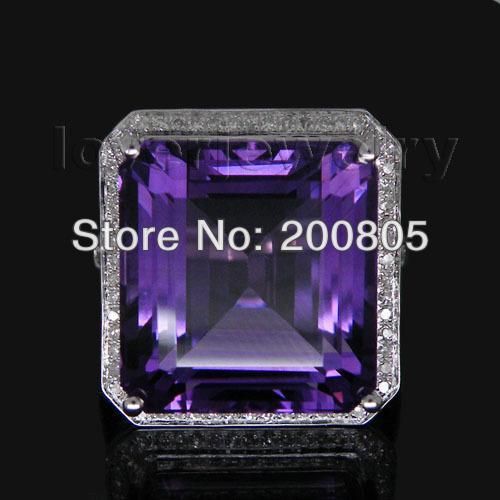 Старинные Принцесса 12 мм твердых 14Kt белого золота алмаз аметист кольцо WU100