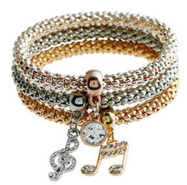 Schmuck Ner Ankunft Musikalische Note Justierbare Armbänder Für Frauen Personalisierte Name Drei-Kette Eine Rose Gold Armband