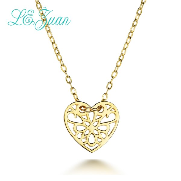 L&zuan Gold Plated S925 Silver Pendants for Women Heart Shaped Necklace Female Christmas Gift Small Fine Jewelry Y1892806