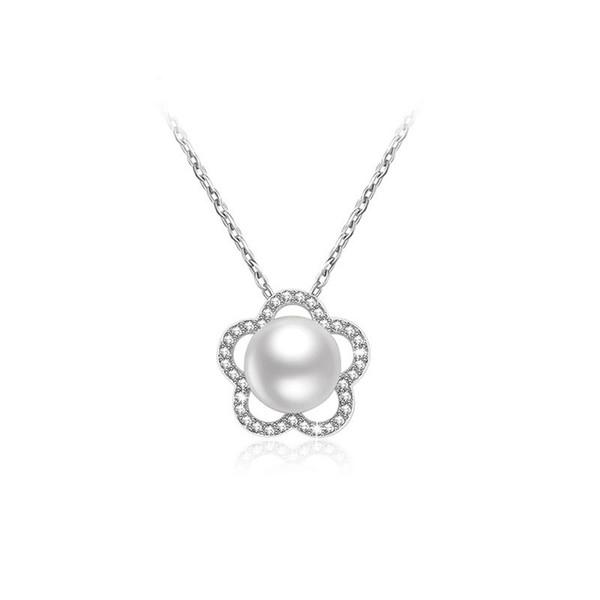 Perla de flores colgante de plata de ley 925 collar de perlas naturales para mujeres joyería de las mujeres collar de cadena elegante lindo romántico